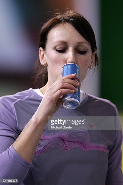 Ros Gonse of Bedford drinks from a Red Bull can during the Norwich Union European Indoor Trials UK Championships at the English Institute of Sport...