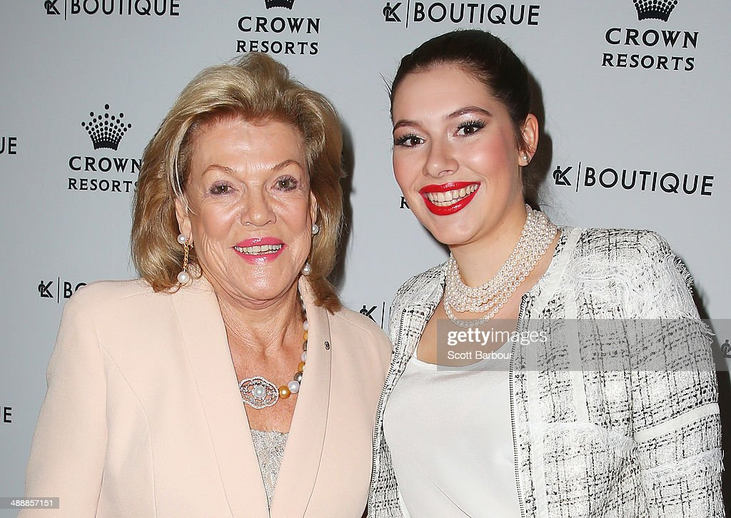 <a gi-track='captionPersonalityLinkClicked' href=/galleries/search?phrase=Ros+Packer&family=editorial&specificpeople=218021 ng-click='$event.stopPropagation()'>Ros Packer</a> and Francesca Packer Barham arrive at Crown's Celebrity Mother's Day Luncheon at Crown on May 9, 2014 in Melbourne, Australia.