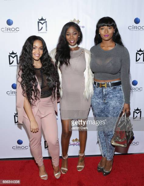 Rosa Acosta Amber Diamond and Toccara Jones attend the Single Release Party For Dom Marcell's single #DTK at Penthouse Nightclub Dayclub on March 21...