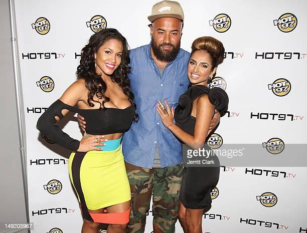 Rosa Acosta Ebro Darden and Shakur Sozahdah attend the Hot 97 TV 'Los Blancos' Premiere at Villa Pacri on July 24 2012 in New York City