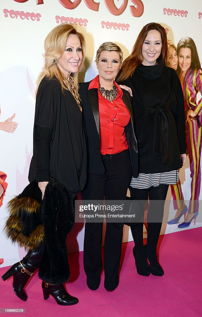 Rosa Benito, Terelu Campos and Chayo Mohedano attend 'Sofocos' theatre play premiere at Nuevo Apolo Theatre on January 17, 2013 in Madrid, Spain.