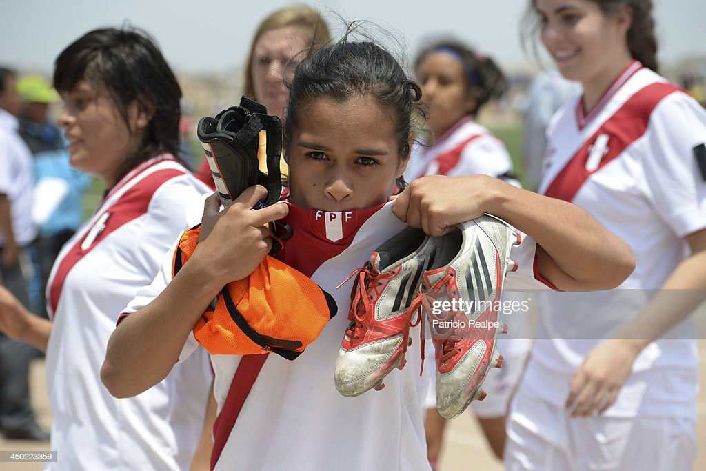 Rosa Castro celebrates after winning the game over Republica Dominicana in Women's U-20 football Qualifiers as part of the XVII Bolivarian Games Trujillo 2013 at Colegio San Jose on November 17, 2013 in Chiclayo, Peru.