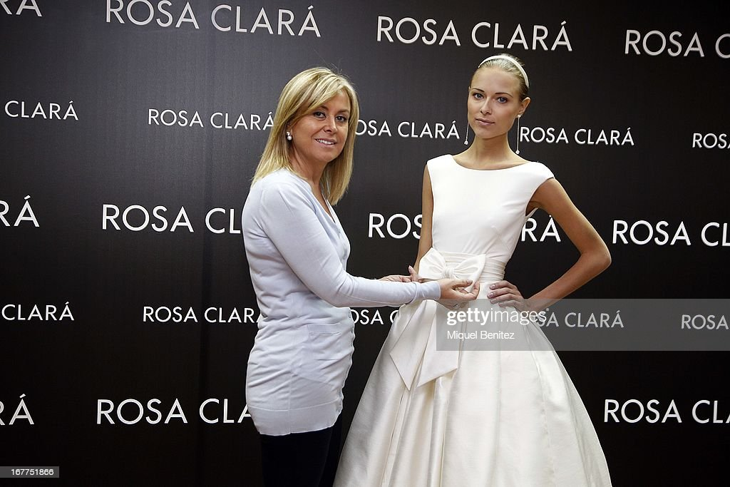 Rosa Clara and Dasha Kapusitna attend Rosa Clara's fitting room on April 29, 2013 in Barcelona, Spain.