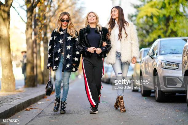 Rosa Crespo Hofit Golan and Patricia Contreras seen in the street of Paris on November 19 2017 in Paris France