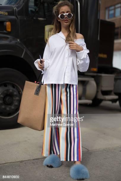 Rosa Crespo is seen attending Cushnie et Ochs Chromat during New York Fashion Week wearing Opening Ceremony on September 8 2017 in New York City