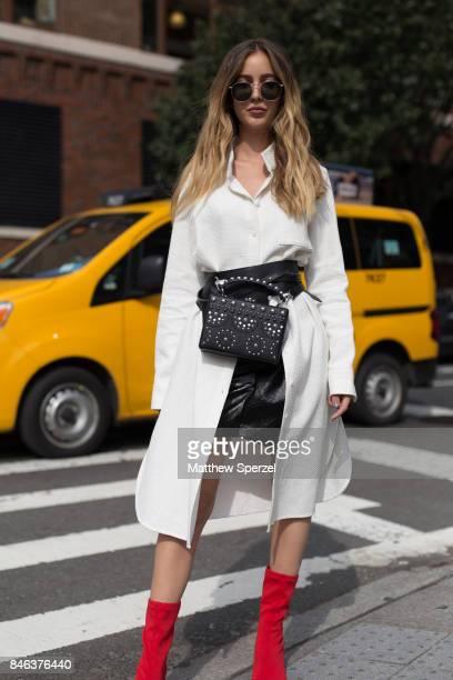 Rosa Crespo is seen attending NaeeM Khan and Chiara Boni La petite Rose during New York Fashion Week wearing Balenciaga Nasty Girl on September 12...