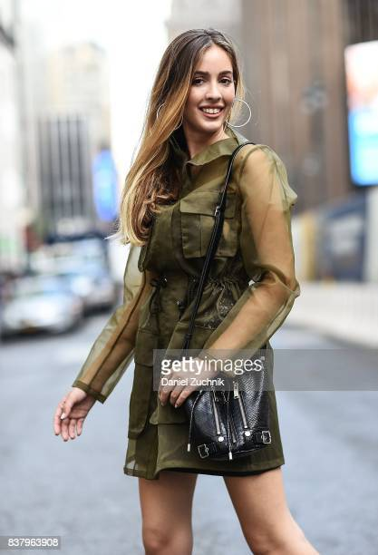 Rosa Crespo is seen in midtown wearing a green outfit on August 22 2017 in New York City