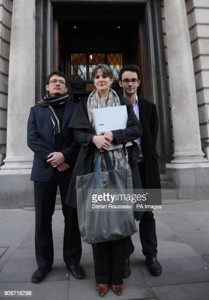 Rosa Curling Lucas FearSegal and Timothy Street serve papers to the HMRC on behalf of UK Uncut Legal Action in London today