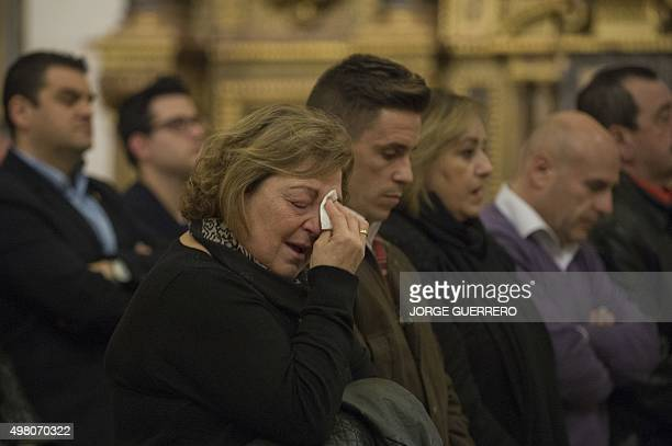 Rosa Maria Garrido the aunt of Spanish victim Juan Alberto Gonzalez Garrido cries during a mass funeral held in Santos Justo y Pastor Church on...