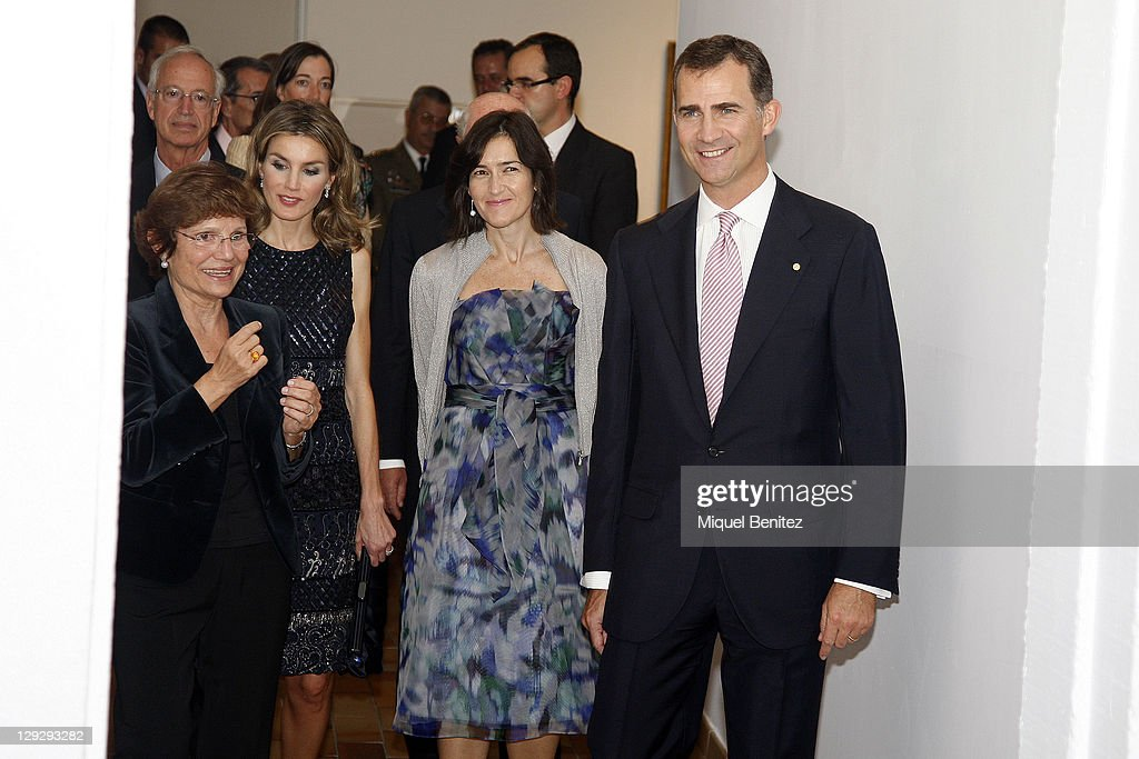 Rosa Maria Mallet Letizia Ortiz Angeles Gonzalez Sinde and Spanish Crown Prince Felipe de Borbon attend the 'Joan Miro La Escalera de la Evasion'...