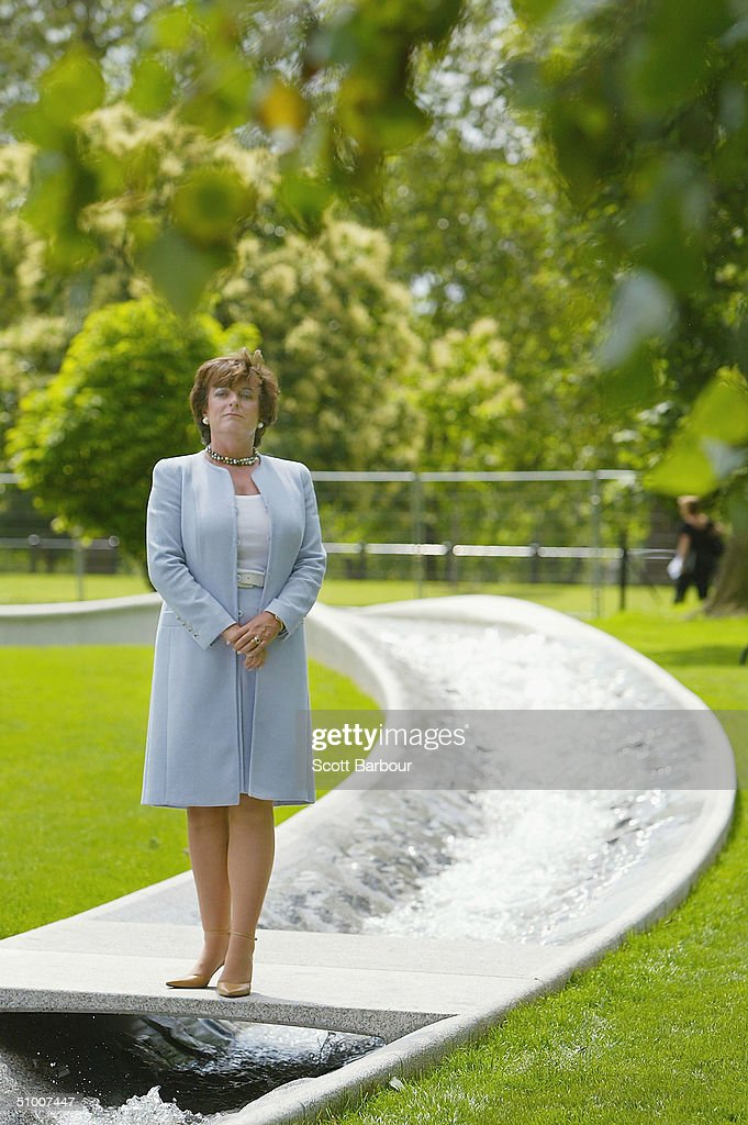 Rosa Monckton, Chair of the Memorial Fountain Committee poses for photographers by The Diana, Princess of Wales Memorial Fountain in Hyde Park on June 29, 2004 in London, England. The fountain by the American designer Kathrun Gustafson has been filled with water a week ahead of its ceremonial opening by Queen Elizabeth II.