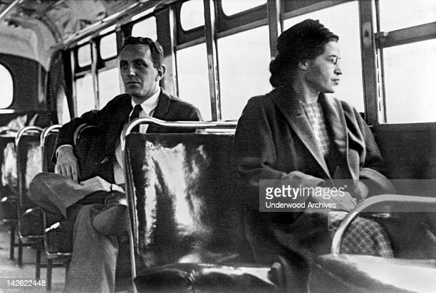 Rosa Parks seated toward the front of the bus Montgomery Alabama 1956