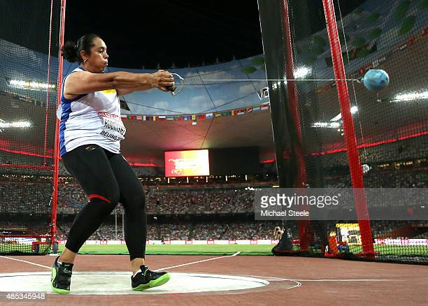 Rosa Rodriguez of Venezuela competes in the Women's Hammer Final during day six of the 15th IAAF World Athletics Championships Beijing 2015 at...