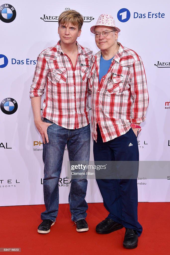 Rosa von Praunheim (R) and his husband Oliver attend the Lola - German Film Award (Deutscher Filmpreis) on May 27, 2016 in Berlin, Germany.