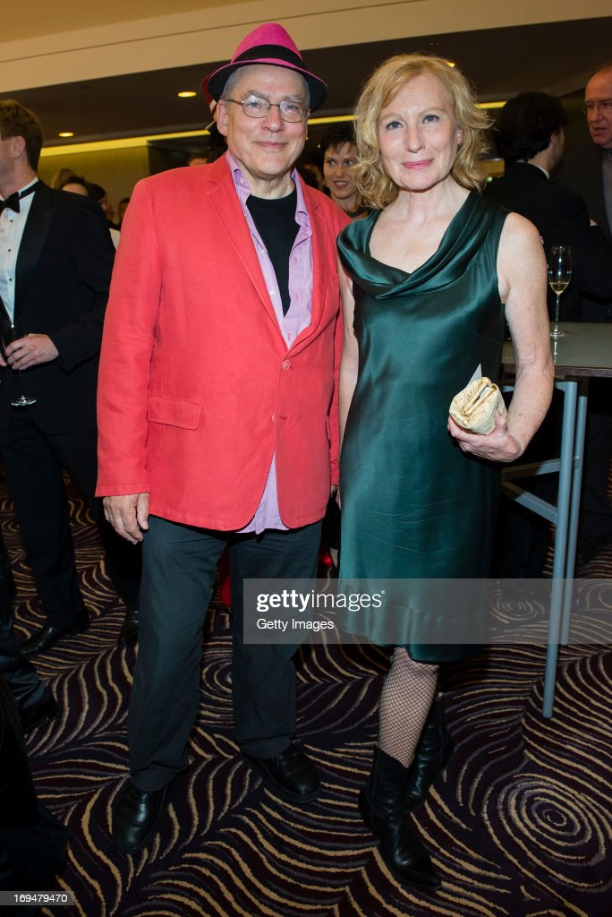 Rosa von Praunheim (L) and Maren Kroymann attend the 1st Charity Dinner by Federal Trust Fund Magnus Hirschfeld at Waldorf Astoria on May 25, 2013 in Berlin, Germany.