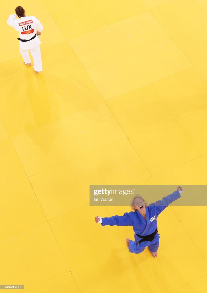 Rosalba Forciniti of Italy celebrates winning the bronze medal A against Marie Muller of Luxembourg on Day two of the London 2012 Olympic Games at ExCeL on July 29, 2012 in London, England.