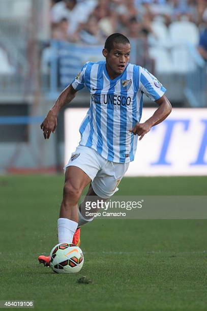 Rosales of Malaga CF runs whit the ball during the La Liga match between Malaga CF and Athletic Club Bilbao at La Rosaleda Stadium on August 23 2014...