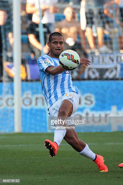 Rosales of Malaga CF shoots during the La Liga match between Malaga CF and Athletic Club Bilbao at La Rosaleda Stadium on August 23 2014 in Malaga...