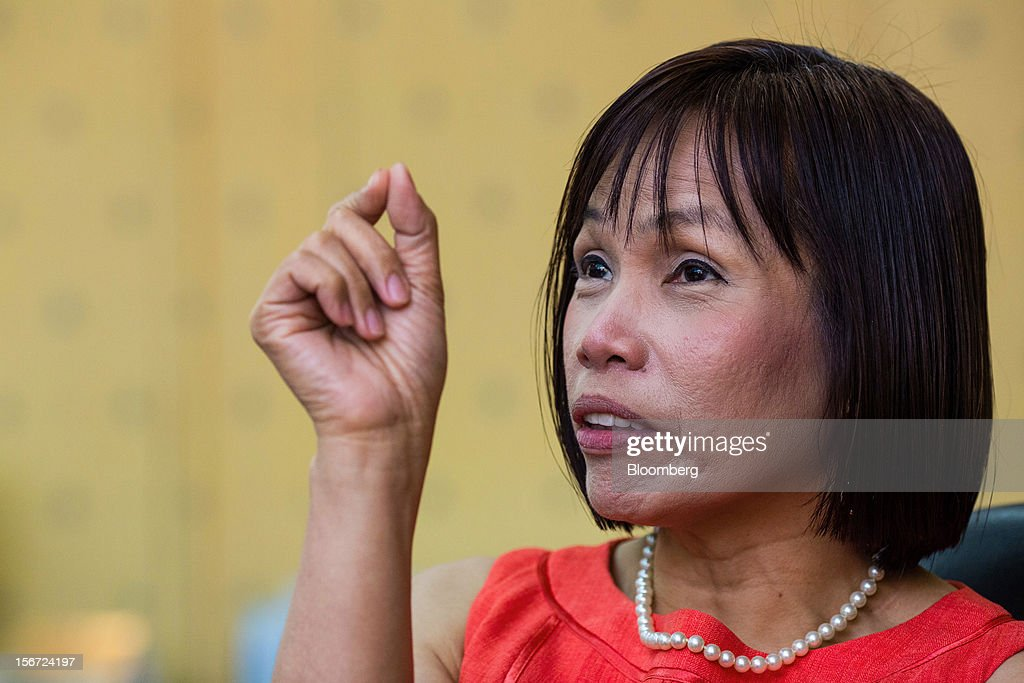 Rosalia De Leon, the Philippines' treasurer, gestures as she speaks during an interview at her office in the Palacio del Gobernador in Manila, the Philippines, on Monday, Nov. 19, 2012. The Philippines plans to cut its overseas debt-sale target by as much as half in 2013 to $1.5 billion as it seeks to slow the appreciation of the peso, Asia's second-best performing currency this year. Photographer: Julian Abram Wainwright/Bloomberg via Getty Images