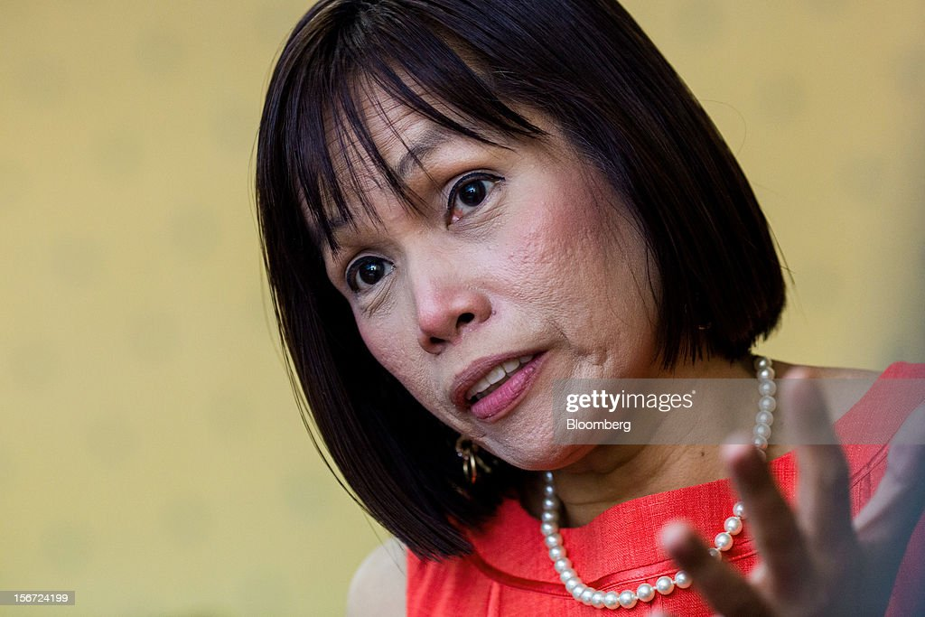 Rosalia De Leon, the Philippines' treasurer, speaks during an interview at her office in the Palacio del Gobernador in Manila, the Philippines, on Monday, Nov. 19, 2012. The Philippines plans to cut its overseas debt-sale target by as much as half in 2013 to $1.5 billion as it seeks to slow the appreciation of the peso, Asia's second-best performing currency this year. Photographer: Julian Abram Wainwright/Bloomberg via Getty Images