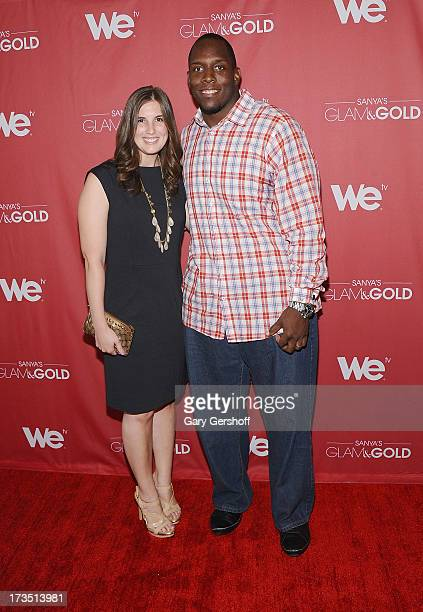 Rosalie Booth and New York Giants lineman Kevin Boothe attend 'Sanya's Glam And Gold' Series Premiere at Gansevoort Hotel on July 15 2013 in New York...