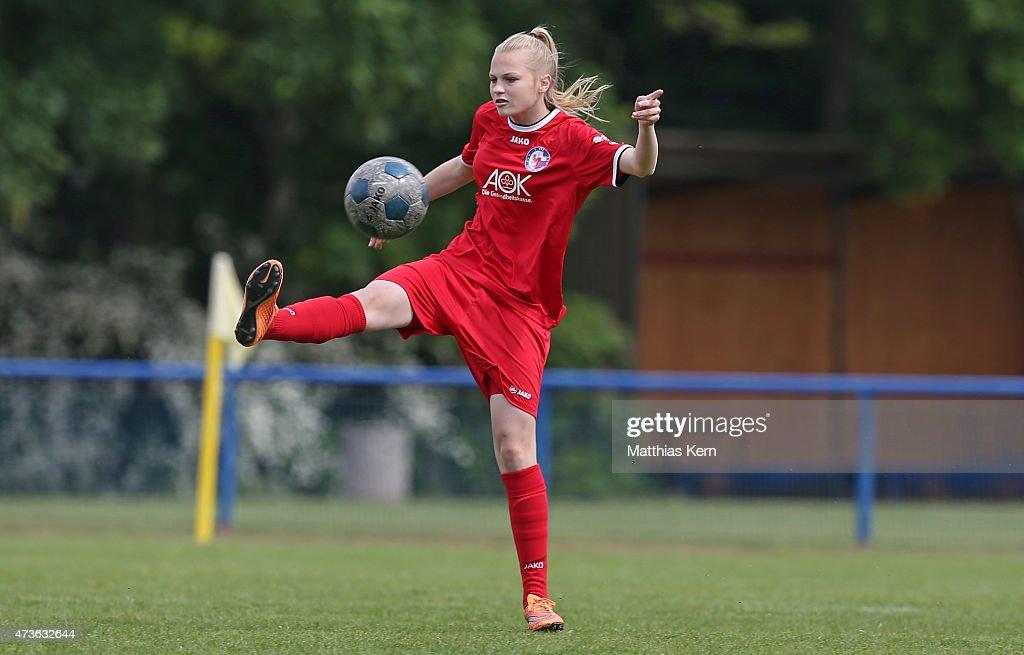 Rosalie May of Potsdam runs with the ball during the U17 Girl's Bundesliga semi final first leg match between Turbine Potsdam and FSV Guetersloh 2009...