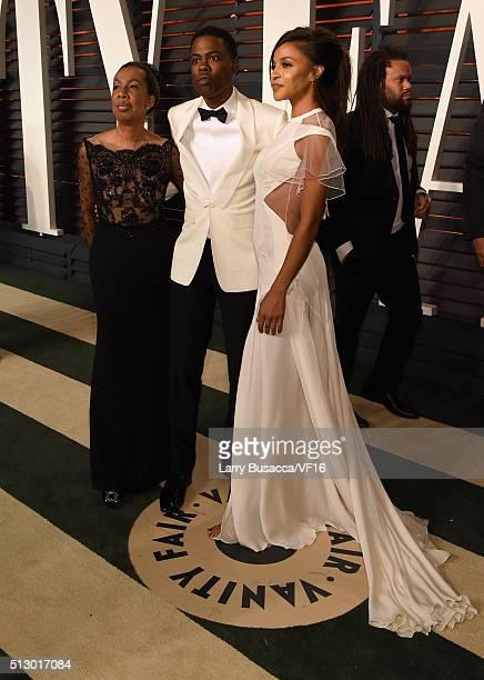 Rosalie Rock Oscar telecast host Chris Rock and actress Megalyn Echikunwoke attend the 2016 Vanity Fair Oscar Party Hosted By Graydon Carter at the...