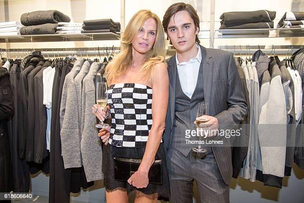 Rosalie van Breemen and her son Alan Fabien Delon attend the 'Society Shopping Event At Wertheim Village' on October 27 2016 in Wertheim Germany