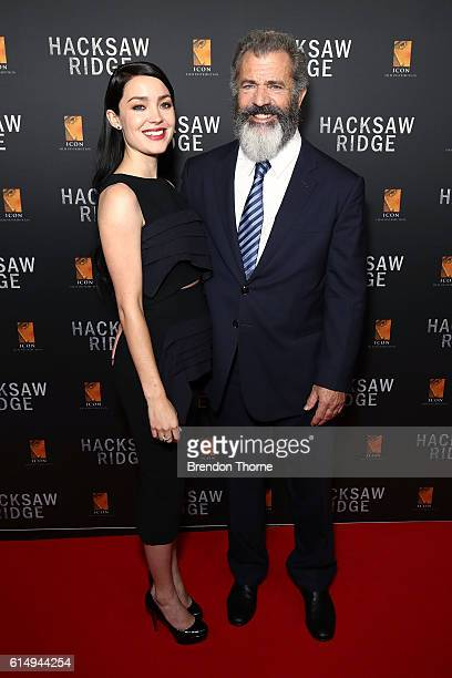 Rosalind Ross and Mel Gibson arrive ahead of the Australian premiere of Hacksaw Ridge at State Theatre on October 16 2016 in Sydney Australia
