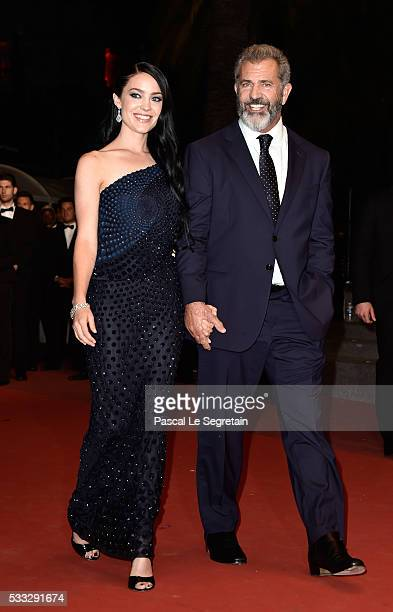 Rosalind Ross and Mel Gibson attend the 'Blood Father' Premiere during the 69th annual Cannes Film Festival at the Palais des Festivals on May 21...