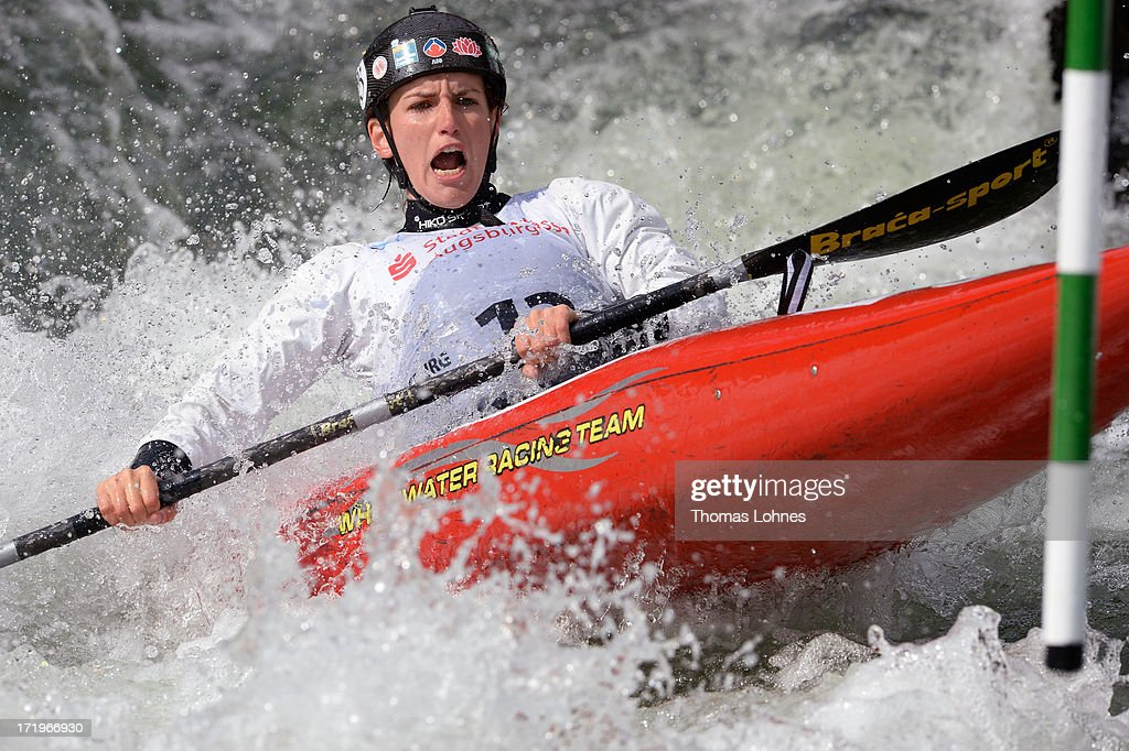 Rosalyn Lawrence of Austrialia competes in the Woman's K1 Semifinal Heat during the Canoe Slalom World Cup at Augsburgs 'Eiskanal' on June 30, 2013 at Augsburg, Germany.