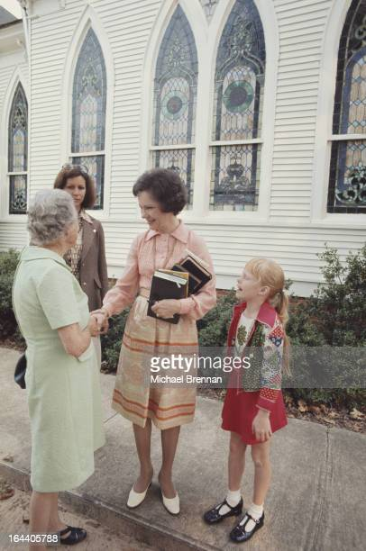 Rosalynn Carter the wife of US Presidential candidate Jimmy Carter with their daughter Amy at the Baptist church in Plains Georgia 1976