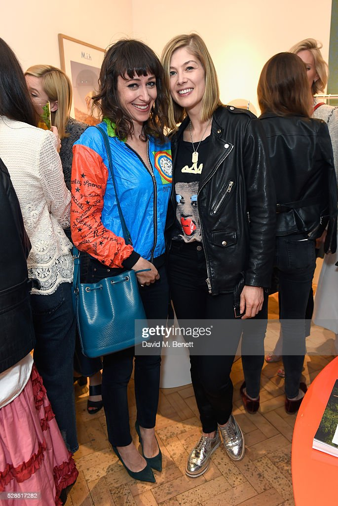 Rosamund Pike (R) and a guest attend M.i.h Jeans' 10th Anniversary Celebration at their pop-up concept store on Upper James Street on May 5, 2016 in London, England.