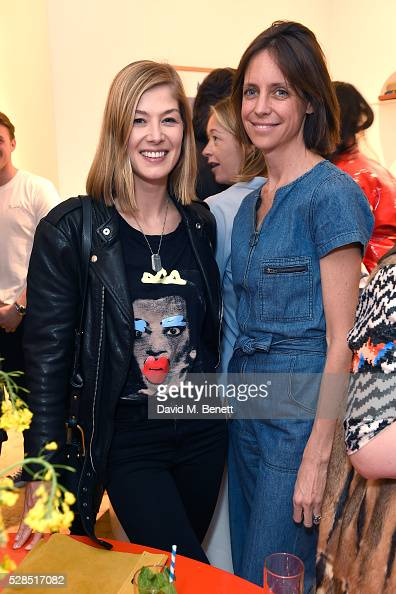Rosamund Pike and Chloe Lonsdale attend Mih Jeans' 10th Anniversary Celebration at their popup concept store on Upper James Street on May 5 2016 in...