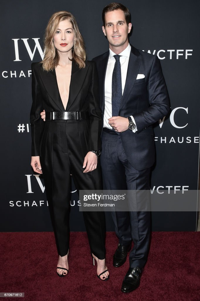 Rosamund Pike and Christoph Grainger-Herr attend IWC Shaffhausen Fifth Annual For The Love of Cinema Gala Dinner at Spring Studios on April 20, 2017 in New York City.