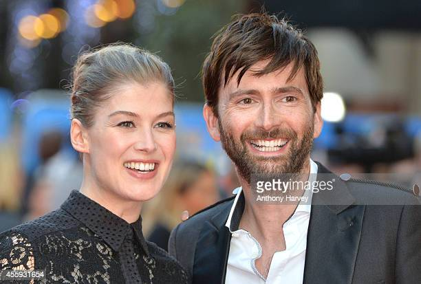 Rosamund Pike and David Tennant attend the World Premiere of 'What We Did On Our Holiday' at Odeon West End on September 22 2014 in London England