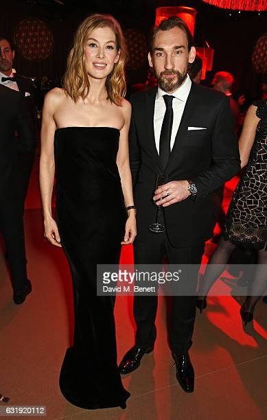 Rosamund Pike and Joseph Mawle attend the IWC Schaffhausen 'Decoding the Beauty of Time' Gala Dinner during the launch of the Da Vinci Novelties from...
