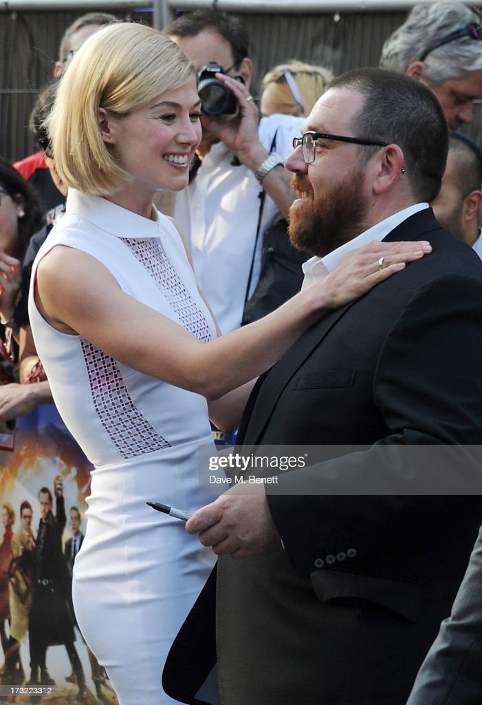 <a gi-track='captionPersonalityLinkClicked' href=/galleries/search?phrase=Rosamund+Pike&family=editorial&specificpeople=208910 ng-click='$event.stopPropagation()'>Rosamund Pike</a> and Nick Frost attend the World Premiere of 'The World's End' at Empire Leicester Square on July 10, 2013 in London, England.