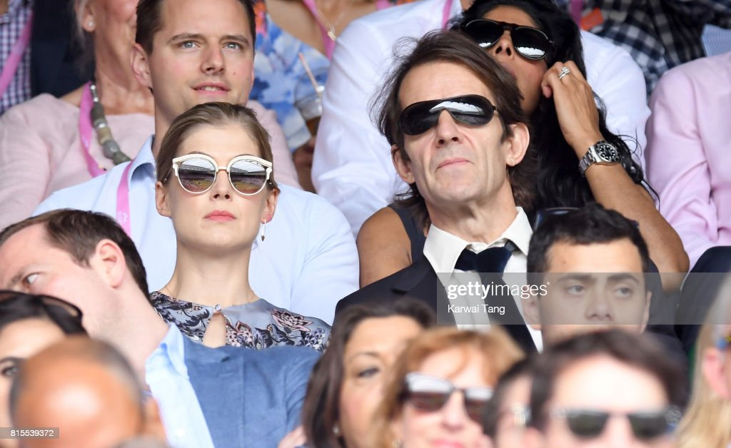 Rosamund Pike and Robie Uniacke attend Wimbledon 2017 as evian guests during day 13 on July 16, 2017 in London, England.