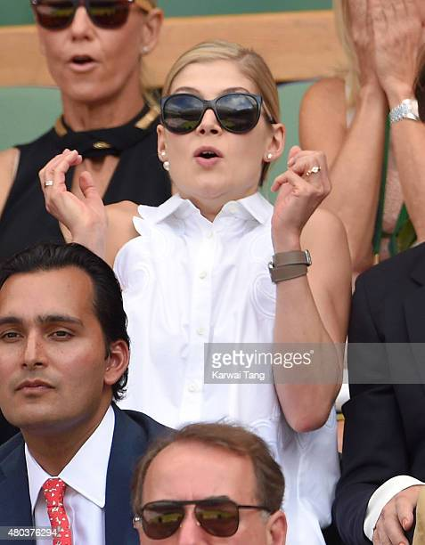 Rosamund Pike attends day 12 of the Wimbledon Tennis Championships at Wimbledon on July 11 2015 in London England