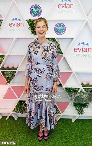 Rosamund Pike attends the evian Live Young suite during Wimbledon 2017 on July 16 2017 in London England