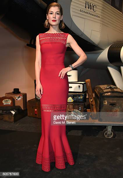 Rosamund Pike attends the IWC 'Come Fly with us' Gala Dinner during the launch of the Pilot's Watches Novelties from the Swiss luxury watch...