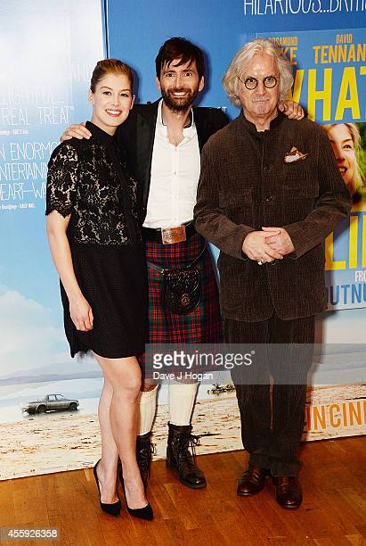 Rosamund Pike David Tennant and Billy Connolly attend the World Premiere of 'What We Did On Our Holiday' at Odeon West End on September 22 2014 in...