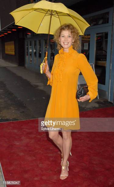 Rosamund Pike during 'Vernon God Little' Gala Performance Outside Arrivals at The Young Vic in London Great Britain