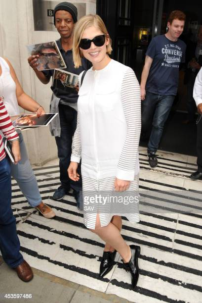 Rosamund Pike pictured at the BBC on August 14 2014 in London England