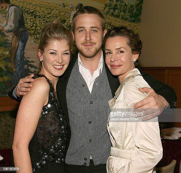 Rosamund Pike Ryan Gosling and Embeth Davidtz during 'Fracture' Los Angeles Premiere After Party in Westwood California United States