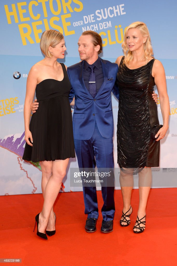 <a gi-track='captionPersonalityLinkClicked' href=/galleries/search?phrase=Rosamund+Pike&family=editorial&specificpeople=208910 ng-click='$event.stopPropagation()'>Rosamund Pike</a>; <a gi-track='captionPersonalityLinkClicked' href=/galleries/search?phrase=Simon+Pegg&family=editorial&specificpeople=206280 ng-click='$event.stopPropagation()'>Simon Pegg</a> and <a gi-track='captionPersonalityLinkClicked' href=/galleries/search?phrase=Veronica+Ferres&family=editorial&specificpeople=207167 ng-click='$event.stopPropagation()'>Veronica Ferres</a> attend the premiere of the film 'Hector and the Search for Happiness' (German title: 'Hectors Reise') at Zoo Palast on August 5, 2014 in Berlin, Germany.