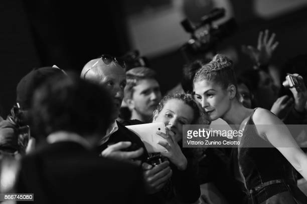 Rosamund Pike walks a red carpet for 'Hostiles' during the 12th Rome Film Fest at Auditorium Parco Della Musica on October 26 2017 in Rome Italy