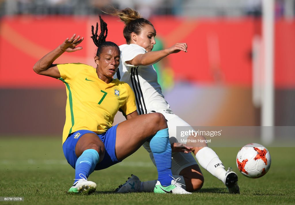 Rosana Santos of Brazil and Lina Magull of Germany compete for the ball during the Women's International Friendly match between Germany and Brazil at BWT-Stadion am Hardtwald on July 4, 2017 in Sandhausen, Germany.