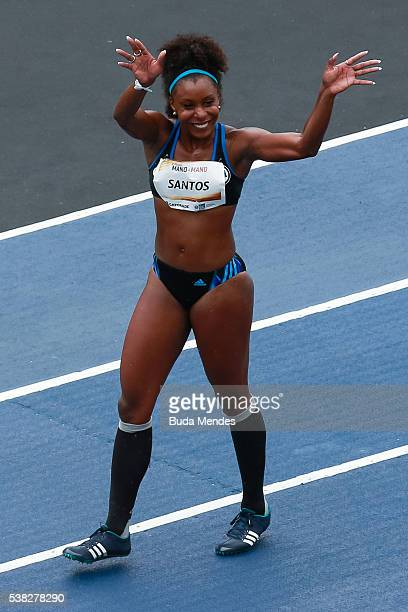 Rosangela dos Santos of Brazil gestures after winning the 'Mano a Mano' challenge at the Quinta da Boa Vista on June 5 2016 in Rio de Janeiro Brazil